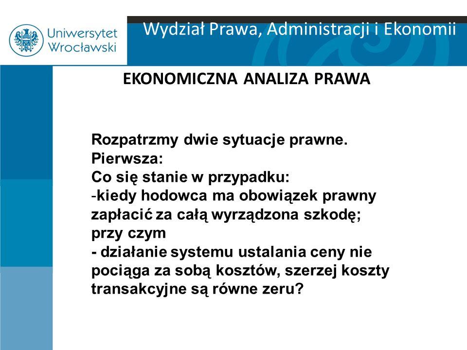Wydział Prawa, Administracji i Ekonomii EKONOMICZNA ANALIZA PRAWA Rozpatrzmy dwie sytuacje prawne.