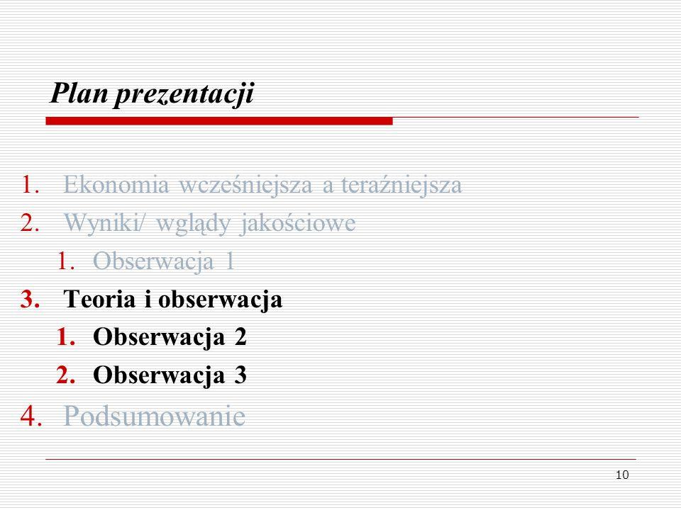 10 Plan prezentacji 1.Ekonomia wcześniejsza a teraźniejsza 2.Wyniki/ wglądy jakościowe 1.Obserwacja 1 3.Teoria i obserwacja 1.Obserwacja 2 2.Obserwacja 3 4.Podsumowanie