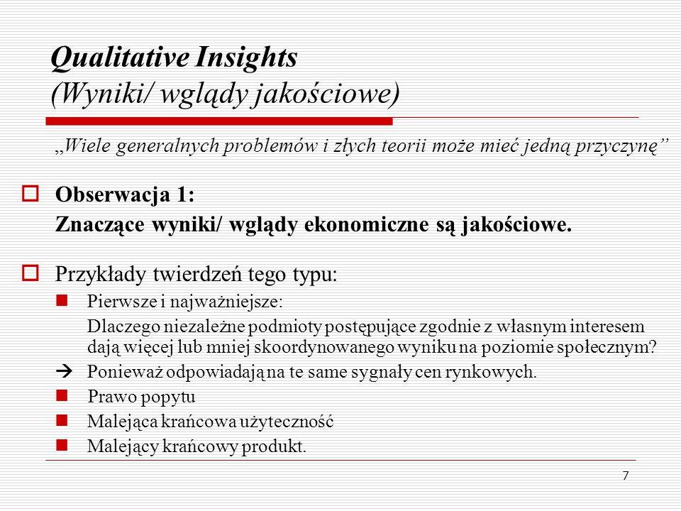 """7 Qualitative Insights (Wyniki/ wglądy jakościowe) """"Wiele generalnych problemów i złych teorii może mieć jedną przyczynę  Obserwacja 1: Znaczące wyniki/ wglądy ekonomiczne są jakościowe."""
