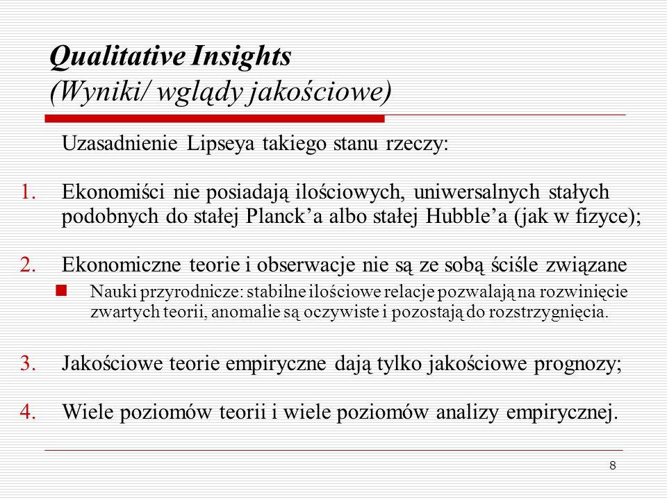 8 Qualitative Insights (Wyniki/ wglądy jakościowe) Uzasadnienie Lipseya takiego stanu rzeczy: 1.Ekonomiści nie posiadają ilościowych, uniwersalnych stałych podobnych do stałej Planck'a albo stałej Hubble'a (jak w fizyce); 2.Ekonomiczne teorie i obserwacje nie są ze sobą ściśle związane Nauki przyrodnicze: stabilne ilościowe relacje pozwalają na rozwinięcie zwartych teorii, anomalie są oczywiste i pozostają do rozstrzygnięcia.