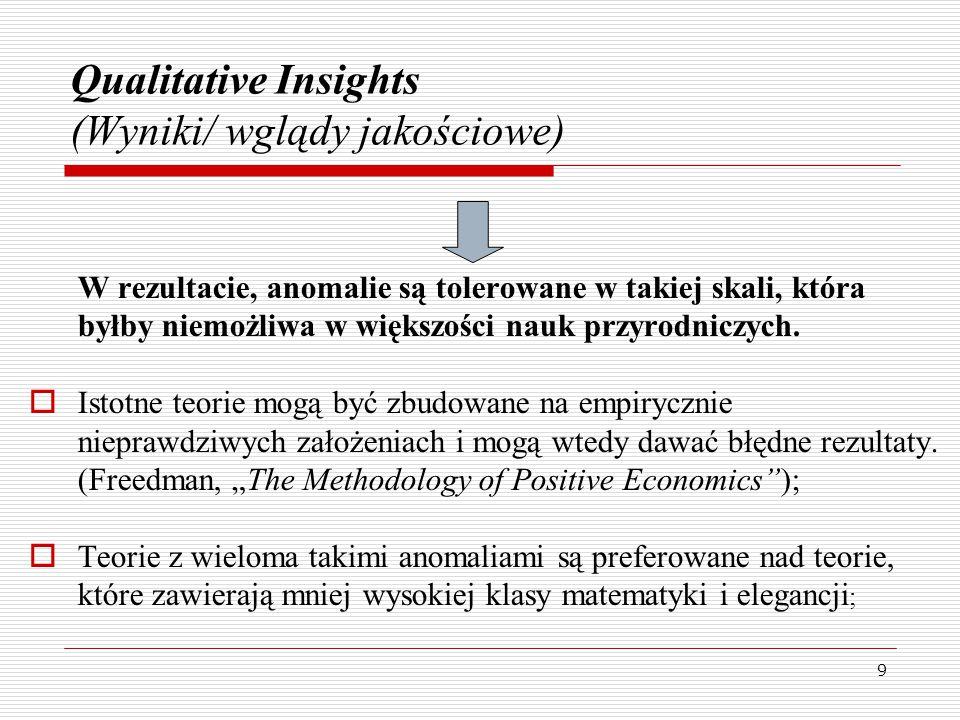 9 Qualitative Insights (Wyniki/ wglądy jakościowe) W rezultacie, anomalie są tolerowane w takiej skali, która byłby niemożliwa w większości nauk przyrodniczych.
