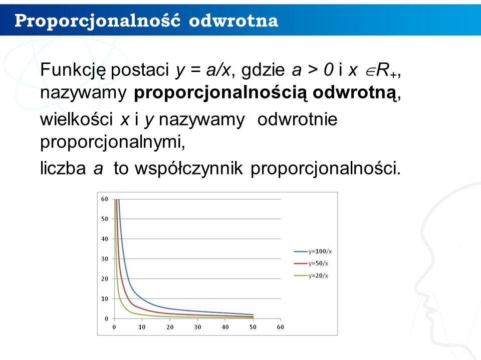 Proporcjonalność odwrotna Funkcję postaci y = a/x, gdzie a > 0 i x  R +, nazywamy proporcjonalnością odwrotną, wielkości x i y nazywamy odwrotnie proporcjonalnymi, liczba a to współczynnik proporcjonalności.