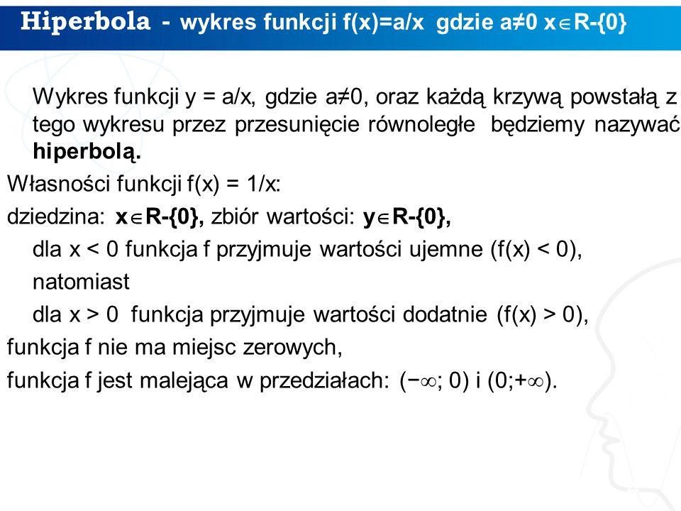 Hiperbola - wykres funkcji f(x)=a/x gdzie a≠0 x  R-{0} 4 Wykres funkcji y = a/x, gdzie a≠0, oraz każdą krzywą powstałą z tego wykresu przez przesunię