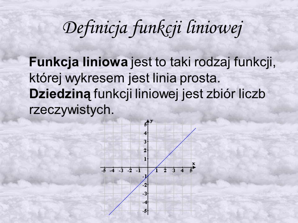 Wzór funkcji liniowej Funkcję liniową opisuje się wzorem… y = ax + b …,gdzie a określa kierunek funkcji, zaś b miejsce przecięcia wykresu z osią Y.