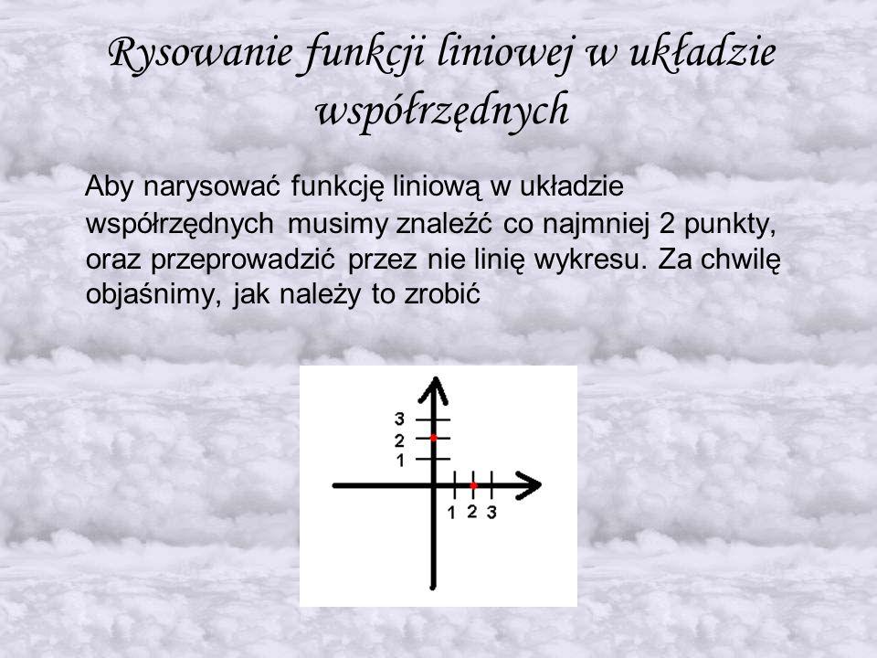 Rysowanie funkcji liniowej w układzie współrzędnych Aby narysować funkcję liniową w układzie współrzędnych musimy znaleźć co najmniej 2 punkty, oraz p