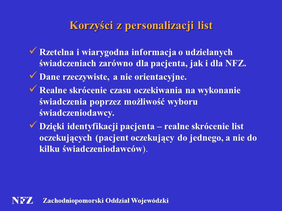 Zachodniopomorski Oddział Wojewódzki Korzyści z personalizacji list Rzetelna i wiarygodna informacja o udzielanych świadczeniach zarówno dla pacjenta, jak i dla NFZ.