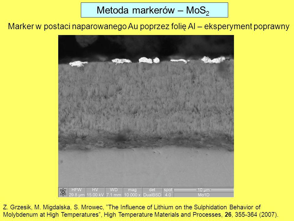 Metoda markerów – MoS 2 Marker w postaci naparowanego Au poprzez folię Al – eksperyment poprawny Z.