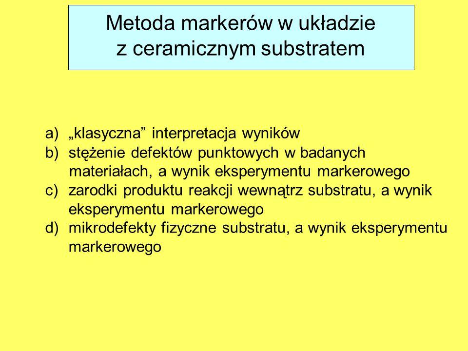 """Metoda markerów w układzie z ceramicznym substratem a)""""klasyczna interpretacja wyników b)stężenie defektów punktowych w badanych materiałach, a wynik eksperymentu markerowego c)zarodki produktu reakcji wewnątrz substratu, a wynik eksperymentu markerowego d)mikrodefekty fizyczne substratu, a wynik eksperymentu markerowego"""