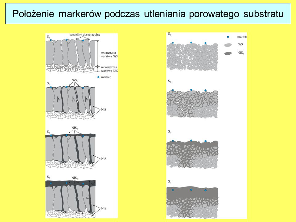 Położenie markerów podczas utleniania porowatego substratu