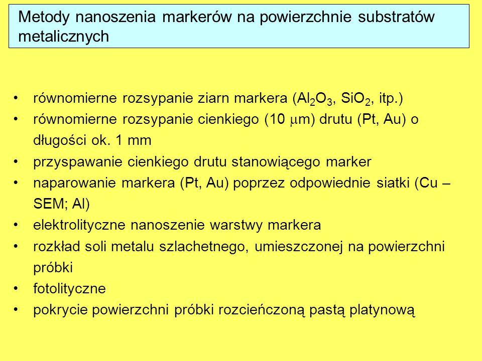 Metody nanoszenia markerów na powierzchnie substratów metalicznych równomierne rozsypanie ziarn markera (Al 2 O 3, SiO 2, itp.) równomierne rozsypanie cienkiego (10  m) drutu (Pt, Au) o długości ok.