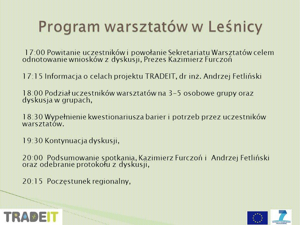 17:00 Powitanie uczestników i powołanie Sekretariatu Warsztatów celem odnotowanie wniosków z dyskusji, Prezes Kazimierz Furczoń 17:15 Informacja o celach projektu TRADEIT, dr inż.