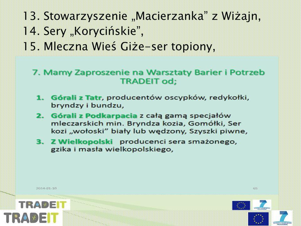 """13.Stowarzyszenie """"Macierzanka z Wiżajn, 14. Sery """"Korycińskie , 15."""