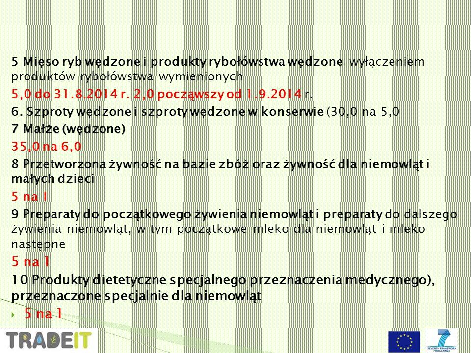 5 Mięso ryb wędzone i produkty rybołówstwa wędzone wyłączeniem produktów rybołówstwa wymienionych 5,0 do 31.8.2014 r.