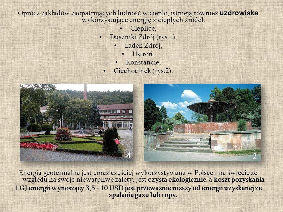 Oprócz zakładów zaopatrujących ludność w ciepło, istnieją również uzdrowiska wykorzystujące energię z ciepłych źródeł: Cieplice, Duszniki Zdrój (rys.1), Lądek Zdrój, Ustroń, Konstancie, Ciechocinek (rys.2).