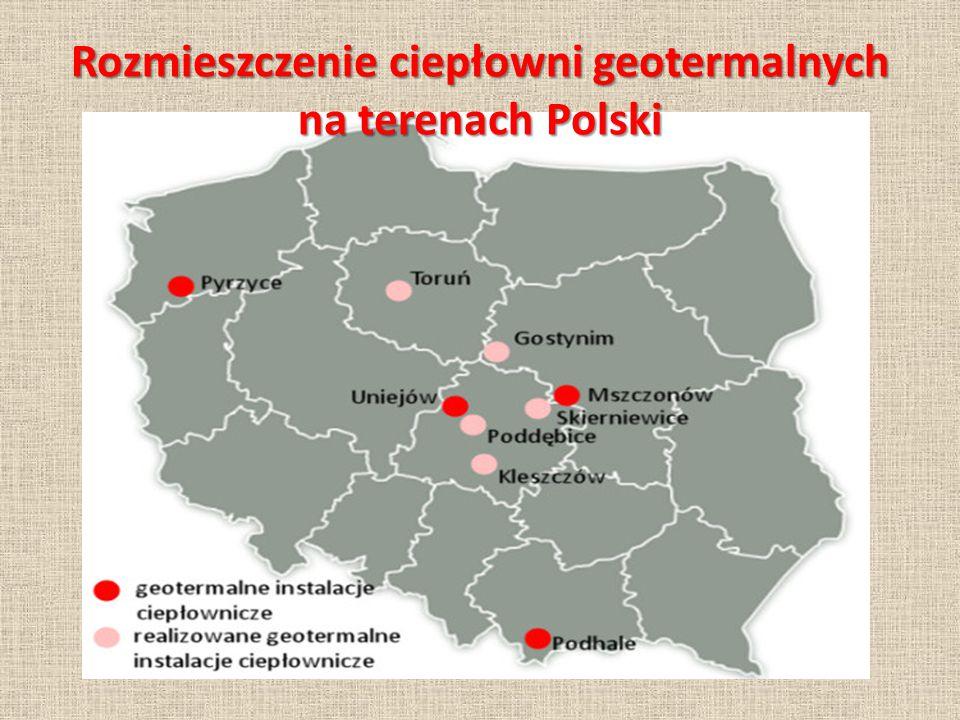 Rozmieszczenie ciepłowni geotermalnych na terenach Polski