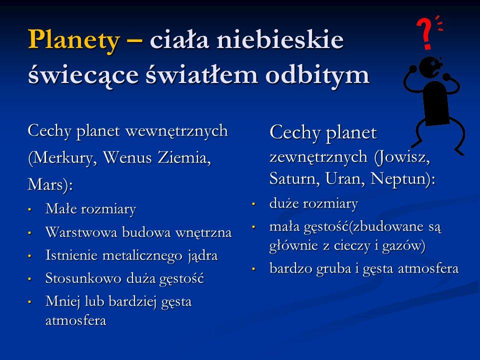 Planety – ciała niebieskie świecące światłem odbitym Cechy planet wewnętrznych (Merkury, Wenus Ziemia, Mars): Małe rozmiary Małe rozmiary Warstwowa budowa wnętrzna Warstwowa budowa wnętrzna Istnienie metalicznego jądra Istnienie metalicznego jądra Stosunkowo duża gęstość Stosunkowo duża gęstość Mniej lub bardziej gęsta atmosfera Mniej lub bardziej gęsta atmosfera Cechy planet zewnętrznych (Jowisz, Saturn, Uran, Neptun): duże rozmiary duże rozmiary mała gęstość(zbudowane są głównie z cieczy i gazów) mała gęstość(zbudowane są głównie z cieczy i gazów) bardzo gruba i gęsta atmosfera bardzo gruba i gęsta atmosfera