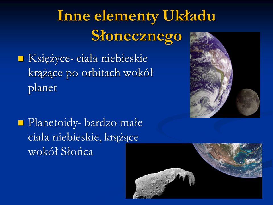 Inne elementy Układu Słonecznego Księżyce- ciała niebieskie krążące po orbitach wokół planet Księżyce- ciała niebieskie krążące po orbitach wokół planet Planetoidy- bardzo małe ciała niebieskie, krążące wokół Słońca Planetoidy- bardzo małe ciała niebieskie, krążące wokół Słońca