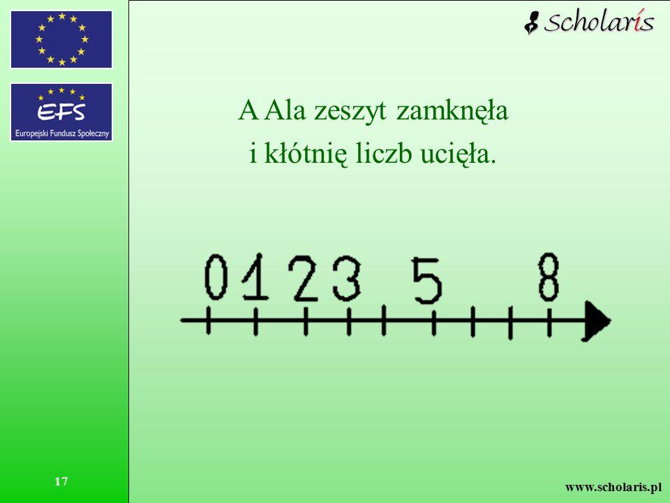 www.scholaris.pl 17 A Ala zeszyt zamknęła i kłótnię liczb ucięła.