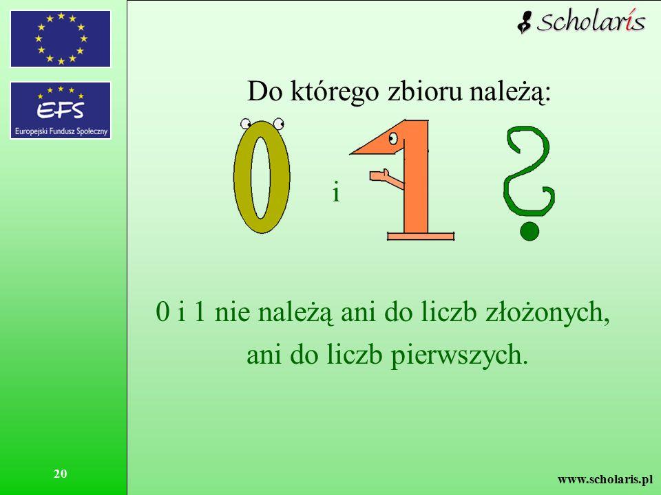 www.scholaris.pl 20 Do którego zbioru należą: i 0 i 1 nie należą ani do liczb złożonych, ani do liczb pierwszych.