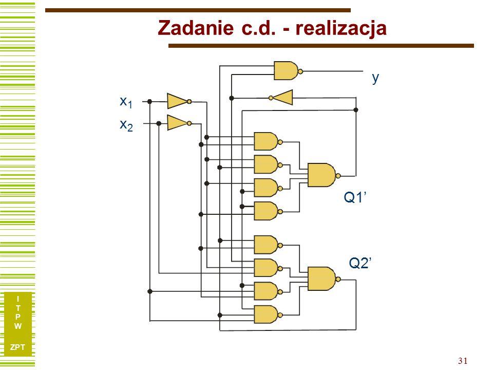 I T P W ZPT 31 Zadanie c.d. - realizacja x1x1 x2x2 Q1' Q2' y