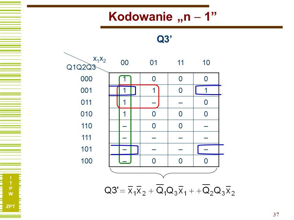 """I T P W ZPT 37 Kodowanie """"n  1 x 1 x 2 Q1Q2Q3 00011110 0001000 0011101 0111––0 0101000 110–00– 111–––– 101–––– 100–000 Q3'"""