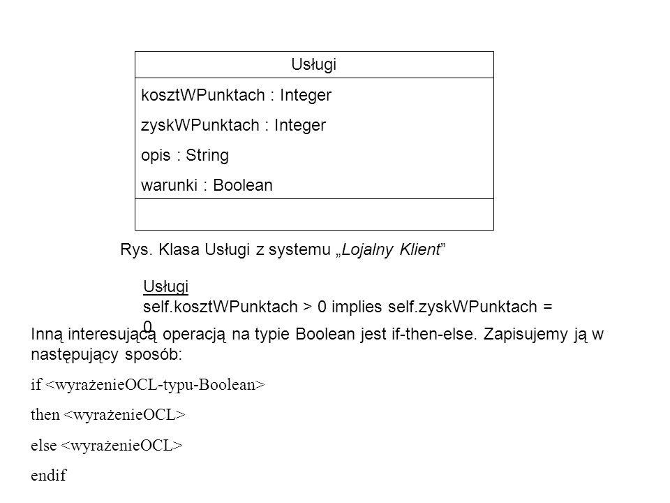 """Usługi kosztWPunktach : Integer zyskWPunktach : Integer opis : String warunki : Boolean Rys. Klasa Usługi z systemu """"Lojalny Klient"""" Usługi self.koszt"""