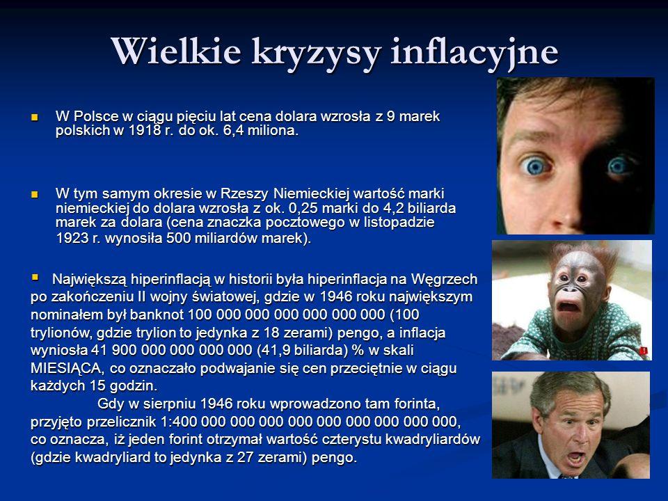 Wielkie kryzysy inflacyjne W Polsce w ciągu pięciu lat cena dolara wzrosła z 9 marek polskich w 1918 r.