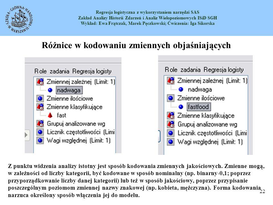 Regresja logistyczna z wykorzystaniem narzędzi SAS Zakład Analizy Historii Zdarzeń i Analiz Wielopoziomowych ISiD SGH Wykład: Ewa Frątczak, Marek Pęczkowski; Ćwiczenia: Iga Sikorska 23