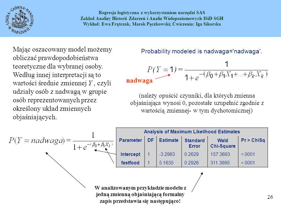 Regresja logistyczna z wykorzystaniem narzędzi SAS Zakład Analizy Historii Zdarzeń i Analiz Wielopoziomowych ISiD SGH Wykład: Ewa Frątczak, Marek Pęczkowski; Ćwiczenia: Iga Sikorska 27 Przykład modelu logistycznego- interpretacja Oznacza to, że 86,6% osób o wymienionych cechach ma nadwagę, inaczej mówiąc jeżeli je się fastfoody to prawdopodobieństwo, że będzie się miało nadwagę wynosi 0,866.