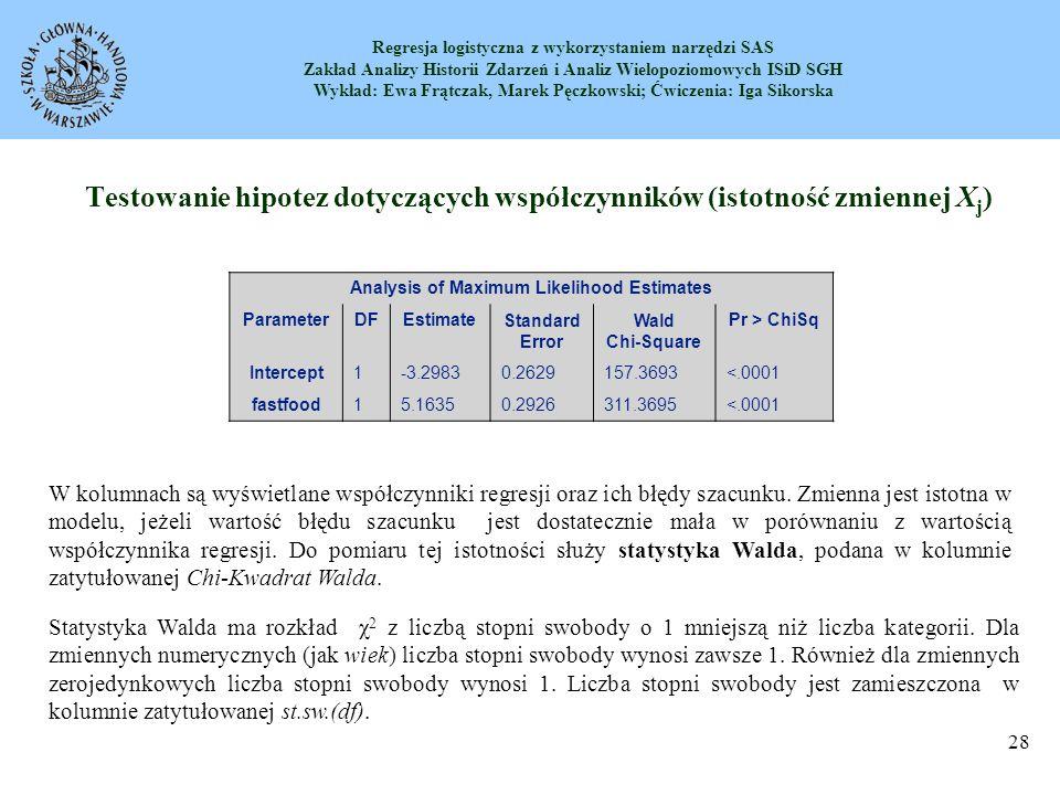 Regresja logistyczna z wykorzystaniem narzędzi SAS Zakład Analizy Historii Zdarzeń i Analiz Wielopoziomowych ISiD SGH Wykład: Ewa Frątczak, Marek Pęczkowski; Ćwiczenia: Iga Sikorska 29 Jeżeli mamy df=1, to wartość statystyki Walda obliczamy ze wzoru: dla zmiennej fastfood mamy Testowanie hipotez dotyczących współczynników (istotność zmiennej X j ) Prawdopodobieństwo testowe dla statystyki Walda jest wyświetlane w kolumnie Pr>ChiKw.