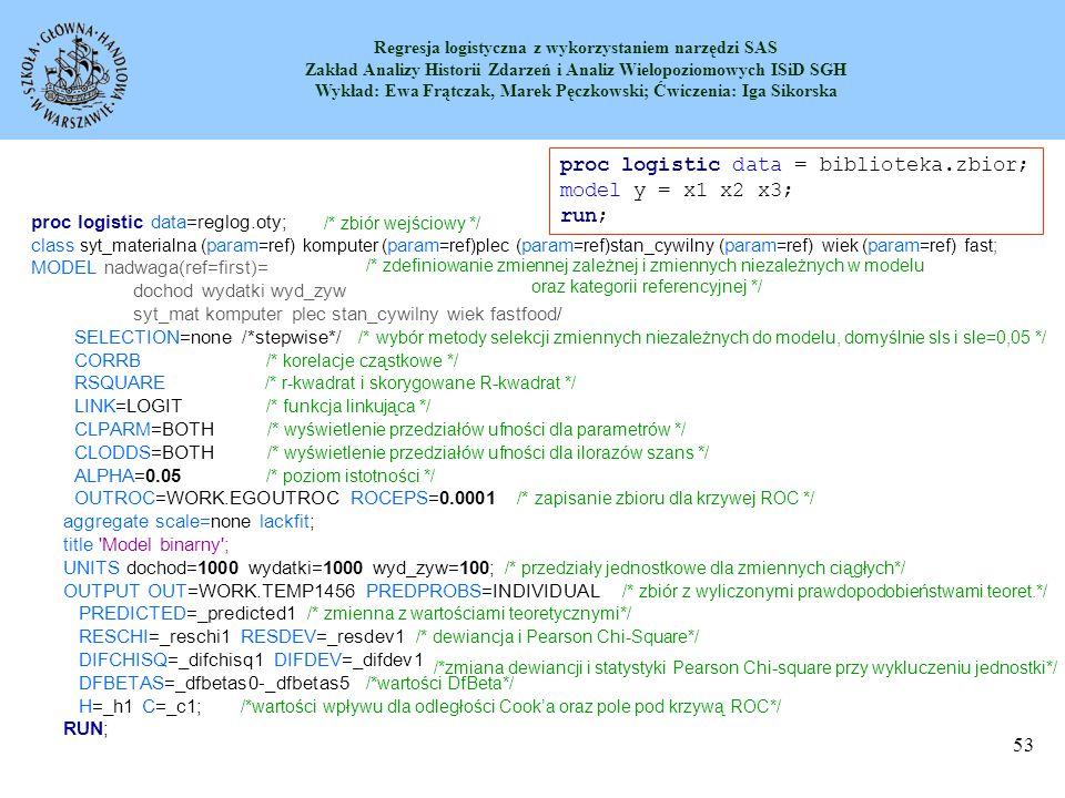 Regresja logistyczna z wykorzystaniem narzędzi SAS Zakład Analizy Historii Zdarzeń i Analiz Wielopoziomowych ISiD SGH Wykład: Ewa Frątczak, Marek Pęczkowski; Ćwiczenia: Iga Sikorska 54 1.PROC LOGISTIC ;PROC LOGISTIC 2.BY variables ;BY 3.CLASS variable...