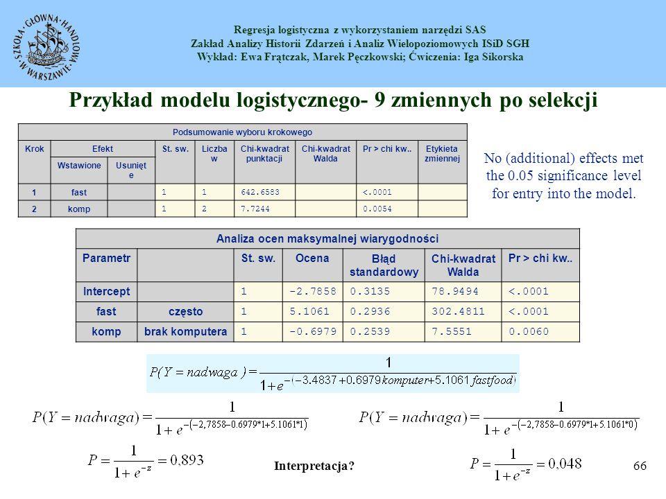 Regresja logistyczna z wykorzystaniem narzędzi SAS Zakład Analizy Historii Zdarzeń i Analiz Wielopoziomowych ISiD SGH Wykład: Ewa Frątczak, Marek Pęczkowski; Ćwiczenia: Iga Sikorska 67 Współczynnik korelacji cząstkowej Wkład poszczególnych zmiennych objaśniających w modelu regresji logistycznej możemy ocenić na podstawie wartości współczynników korelacji cząstkowej tych zmiennych ze zmienną zależną.
