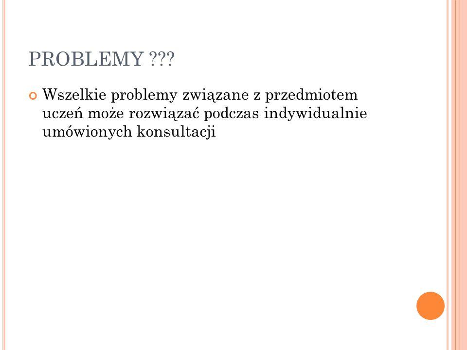 PROBLEMY ??? Wszelkie problemy związane z przedmiotem uczeń może rozwiązać podczas indywidualnie umówionych konsultacji