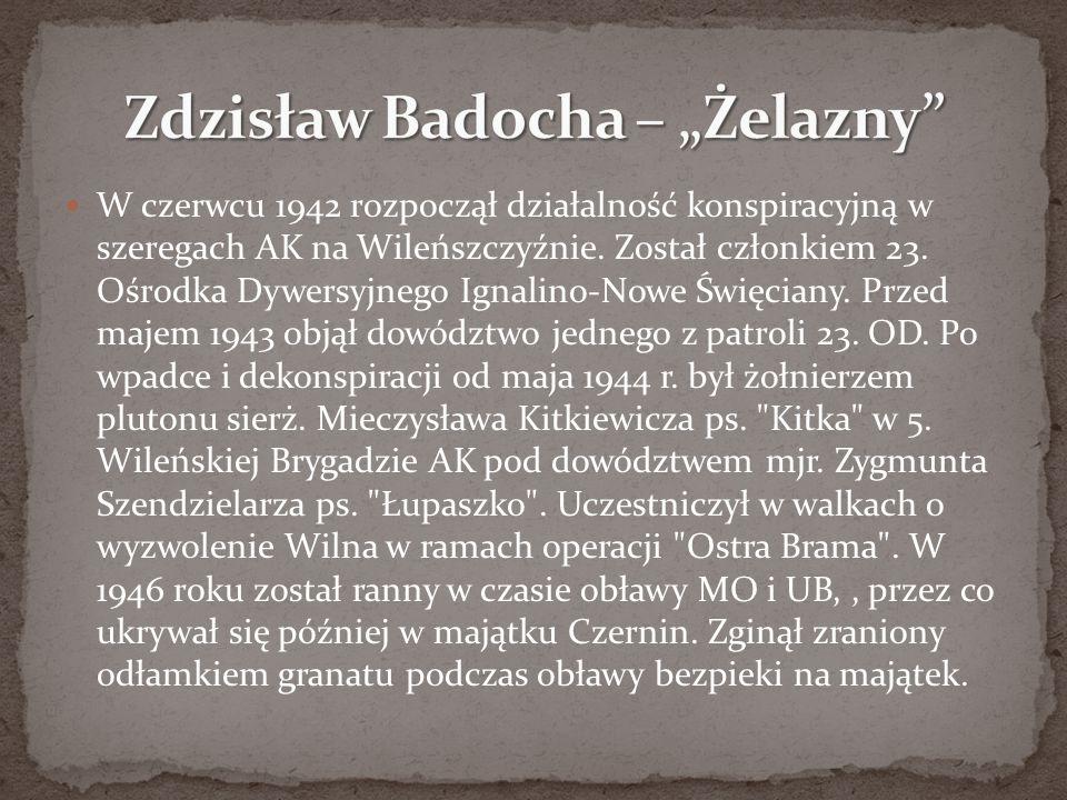 W czerwcu 1942 rozpoczął działalność konspiracyjną w szeregach AK na Wileńszczyźnie. Został członkiem 23. Ośrodka Dywersyjnego Ignalino-Nowe Święciany