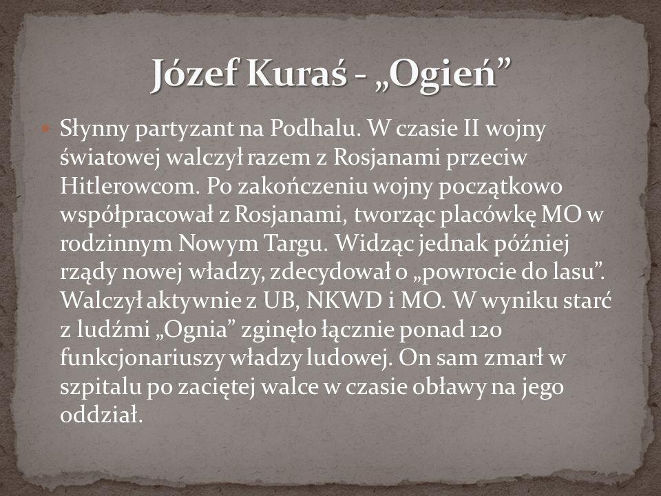 Słynny partyzant na Podhalu. W czasie II wojny światowej walczył razem z Rosjanami przeciw Hitlerowcom. Po zakończeniu wojny początkowo współpracował