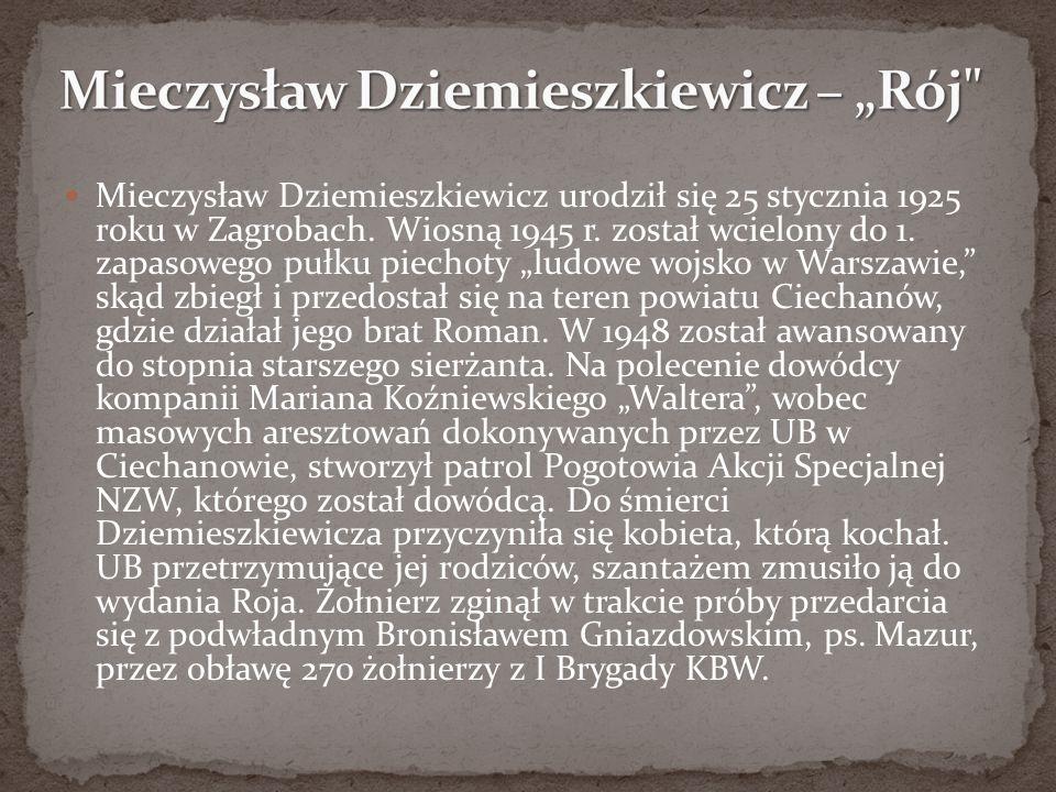 """Mieczysław Dziemieszkiewicz urodził się 25 stycznia 1925 roku w Zagrobach. Wiosną 1945 r. został wcielony do 1. zapasowego pułku piechoty """"ludowe wojs"""