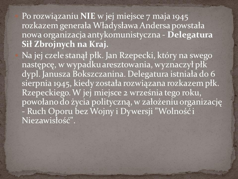 Po rozwiązaniu NIE w jej miejsce 7 maja 1945 rozkazem generała Władysława Andersa powstała nowa organizacja antykomunistyczna - Delegatura Sił Zbrojny