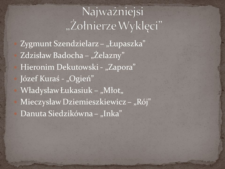 """Zygmunt Szendzielarz – """"Łupaszka"""" Zdzisław Badocha – """"Żelazny"""" Hieronim Dekutowski - """"Zapora"""" Józef Kuraś - """"Ogień"""" Władysław Łukasiuk – """"Młot"""" Mieczy"""