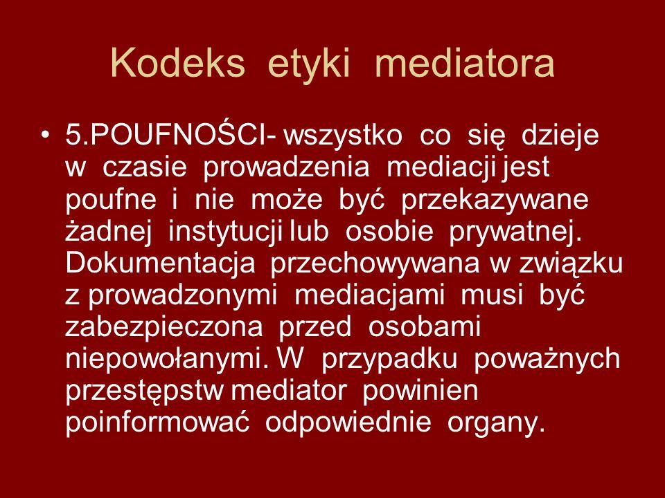 Kodeks etyki mediatora 5.POUFNOŚCI- wszystko co się dzieje w czasie prowadzenia mediacji jest poufne i nie może być przekazywane żadnej instytucji lub