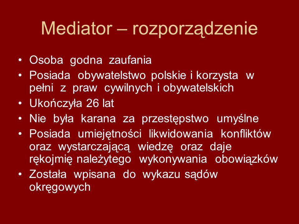 Mediator – rozporządzenie Osoba godna zaufania Posiada obywatelstwo polskie i korzysta w pełni z praw cywilnych i obywatelskich Ukończyła 26 lat Nie b