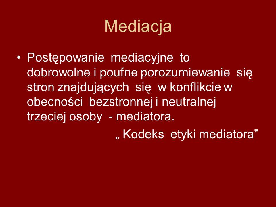 Mediacja Postępowanie mediacyjne to dobrowolne i poufne porozumiewanie się stron znajdujących się w konflikcie w obecności bezstronnej i neutralnej tr