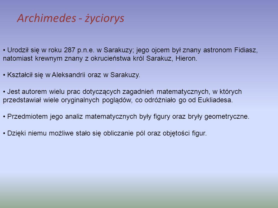 Urodził się w roku 287 p.n.e. w Sarakuzy; jego ojcem był znany astronom Fidiasz, natomiast krewnym znany z okrucieństwa król Sarakuz, Hieron. Kształci