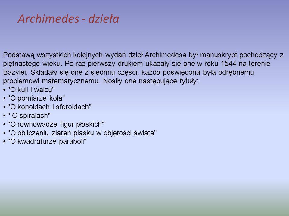 Podstawą wszystkich kolejnych wydań dzieł Archimedesa był manuskrypt pochodzący z piętnastego wieku. Po raz pierwszy drukiem ukazały się one w roku 15