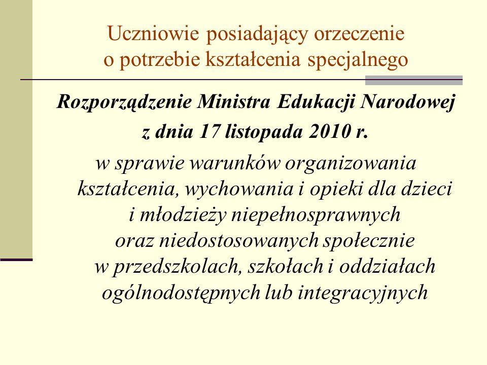 Uczniowie posiadający orzeczenie o potrzebie kształcenia specjalnego Rozporządzenie Ministra Edukacji Narodowej z dnia 17 listopada 2010 r. w sprawie