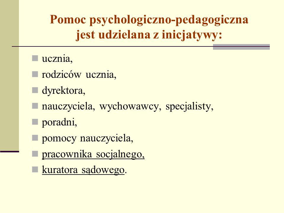 Pomoc psychologiczno-pedagogiczna jest udzielana z inicjatywy: ucznia, rodziców ucznia, dyrektora, nauczyciela, wychowawcy, specjalisty, poradni, pomo