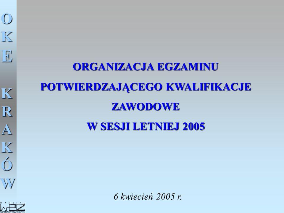 OKE KRAKÓW Zadania Przewodniczącego Zespołu Nadzorującego w dniu egzaminu - 21 czerwca 2005 1.Zebranie kart odpowiedzi z naklejonymi kodami kreskowymi zawierającymi numer PESEL i symbol zawodu (arkusze egzaminacyjne zdających pozostają na stolikach).