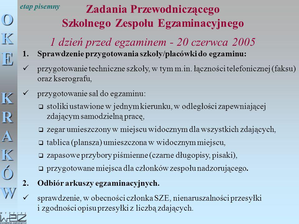 OKE KRAKÓW Zadania Przewodniczącego Szkolnego Zespołu Egzaminacyjnego 1 dzień przed egzaminem - 20 czerwca 2005 1.Sprawdzenie przygotowania szkoły/pla