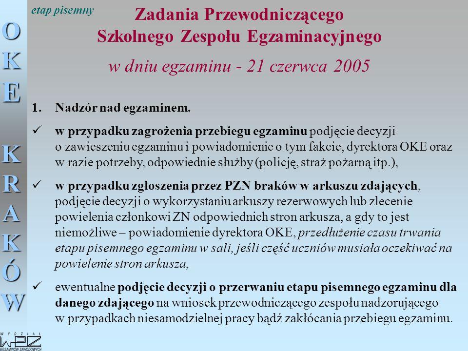 OKE KRAKÓW Zadania Przewodniczącego Szkolnego Zespołu Egzaminacyjnego w dniu egzaminu - 21 czerwca 2005 1.Nadzór nad egzaminem. w przypadku zagrożenia