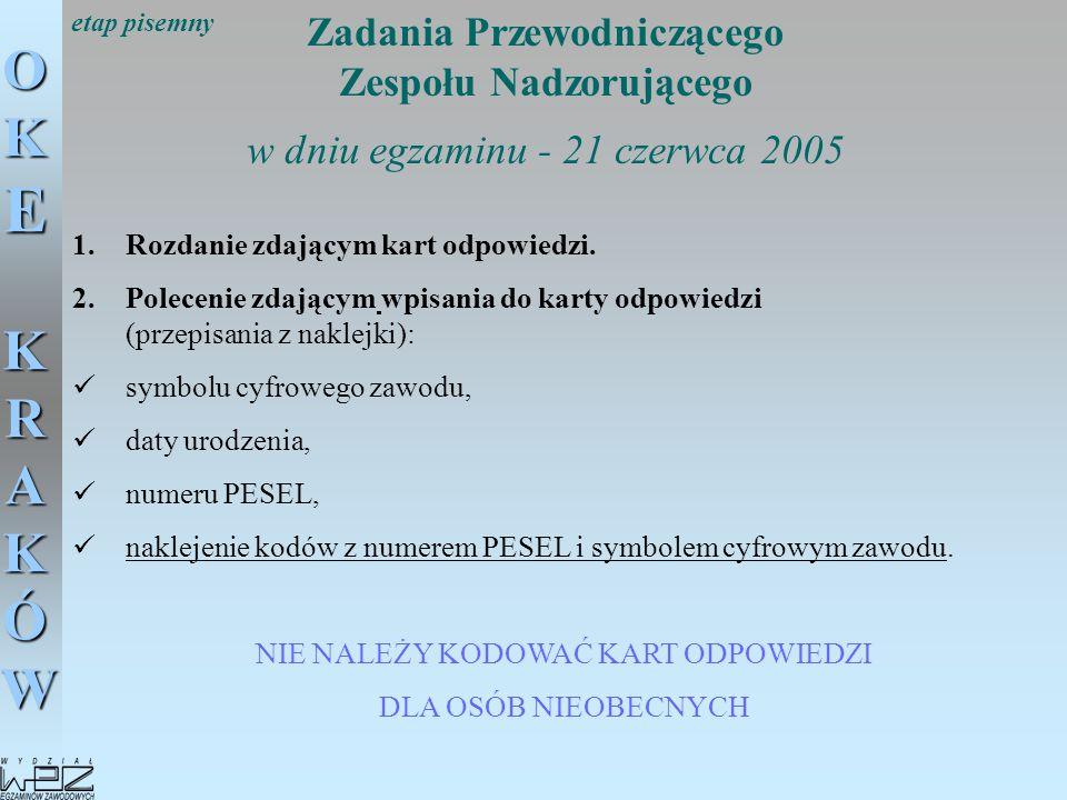OKE KRAKÓW Zadania Przewodniczącego Zespołu Nadzorującego w dniu egzaminu - 21 czerwca 2005 1.Rozdanie zdającym kart odpowiedzi. 2.Polecenie zdającym