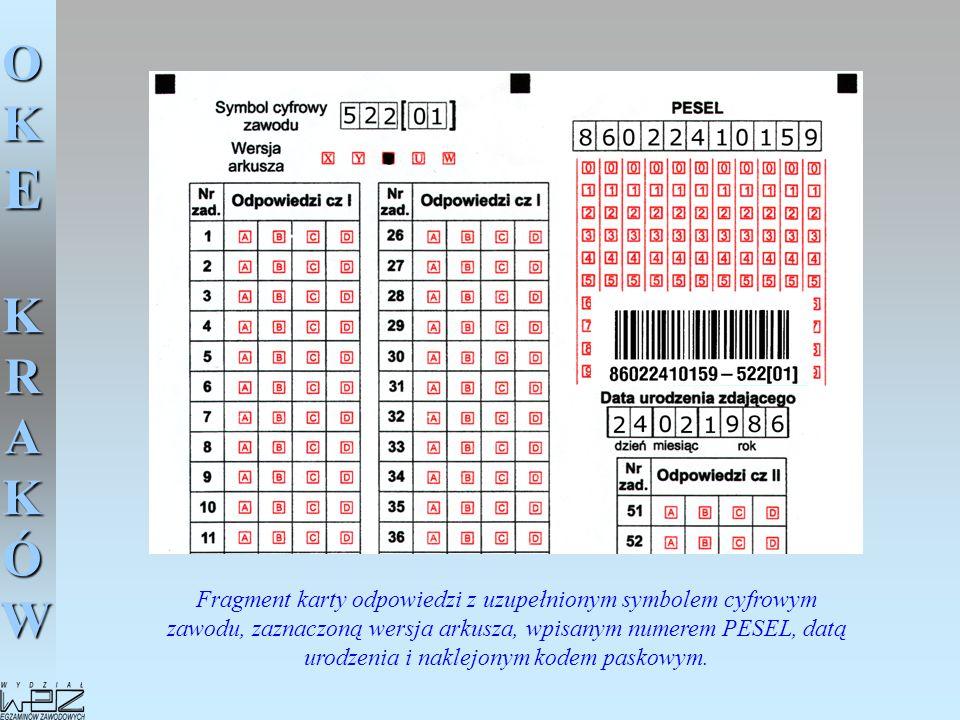 OKE KRAKÓW Fragment karty odpowiedzi z uzupełnionym symbolem cyfrowym zawodu, zaznaczoną wersja arkusza, wpisanym numerem PESEL, datą urodzenia i nakl